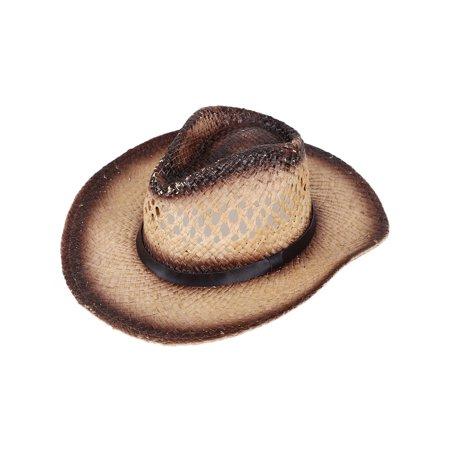 50b7c134 Men's & Women's Western Style Cowboy / Cowgirl Straw Hat Chestnut_Belt -  Walmart.com