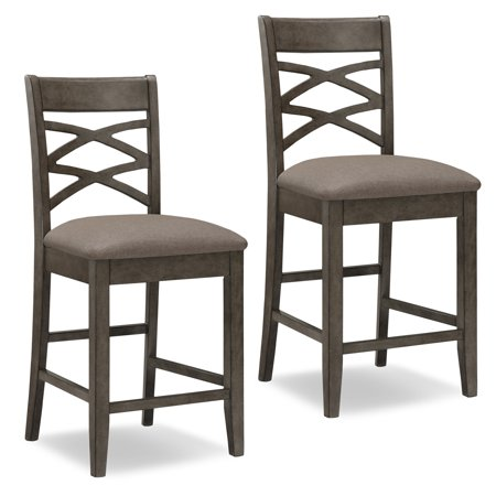 Leick Home Wood Double Crossback Counter Height Stool with Moss Heather Seat, Set of 2 Double Adjustable Bar Stool
