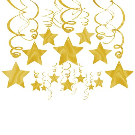 Star Hanging Decorations (Gold Foil Star Hanging Decorations (Each) - Party)