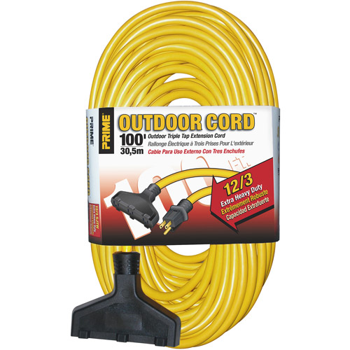 Prime Wire 100-Foot Triple-Tap Extra Heavy Duty Outdoor Extension Cord, Yellow