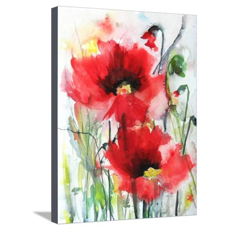 Red Poppies Abstract Flower Floral Art Stretched Canvas Print Wall Art By Karin Johannesson ()