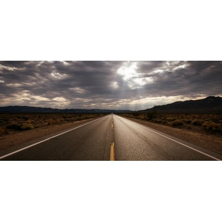 Highway 190 Passing Through A Landscape Death Valley National Park California Usa Poster Print