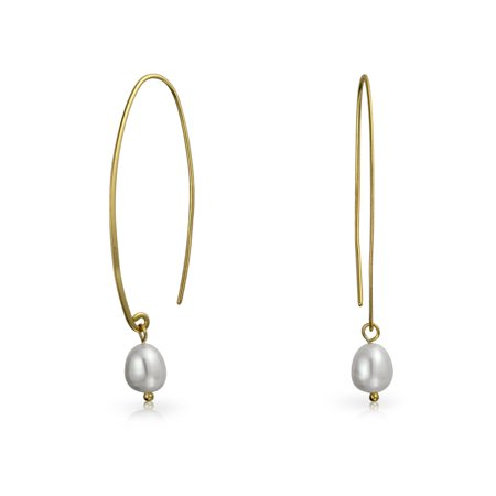 Minimalist White Freshwater Cultured Pearl Wire Threader Earrings For Women 14K Gold Plated 925 Sterling Silver