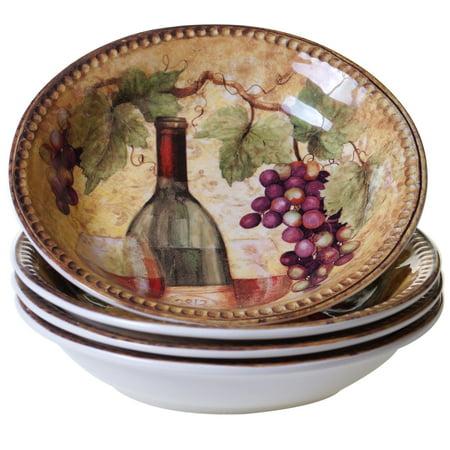 Certified International  Gilded Ceramic Soup/Pasta Bowls (Pack of 4) Certified International Ceramic Bowls