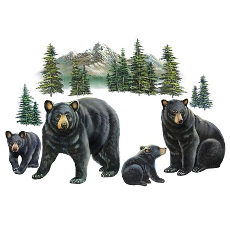 Bear Family and Mountain Scene Garage Door Magnets - Set of 4, Removable and Reusable Outdoor Decorative Accents