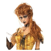 Costume Auburn Brown Hell's Belle Haunted Witch Glamour Wig