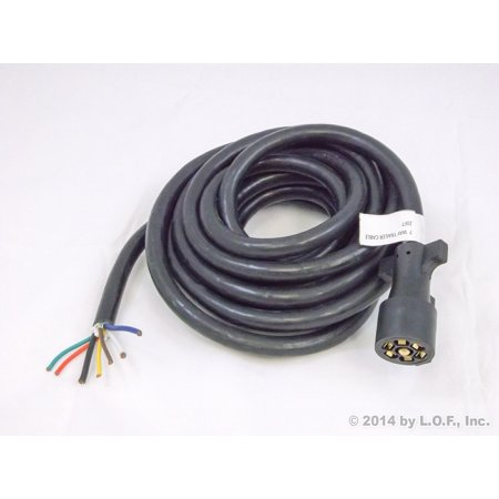 20FT Foot 7 Way Trailer Cable Cord Wire Harness Molded Light Plug ...