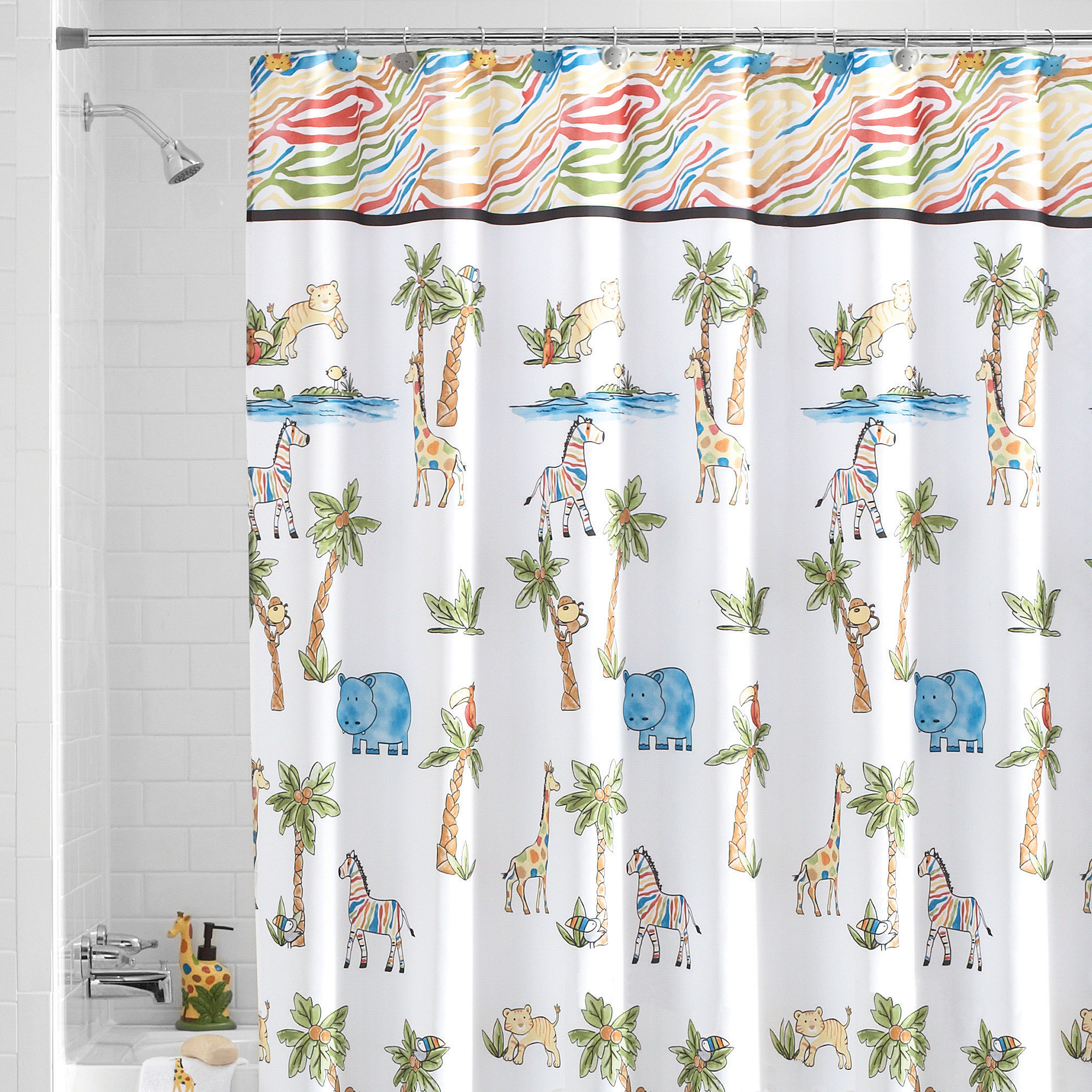 Safari bathroom decor for kids - Mainstays Safari Fabric Shower Curtain
