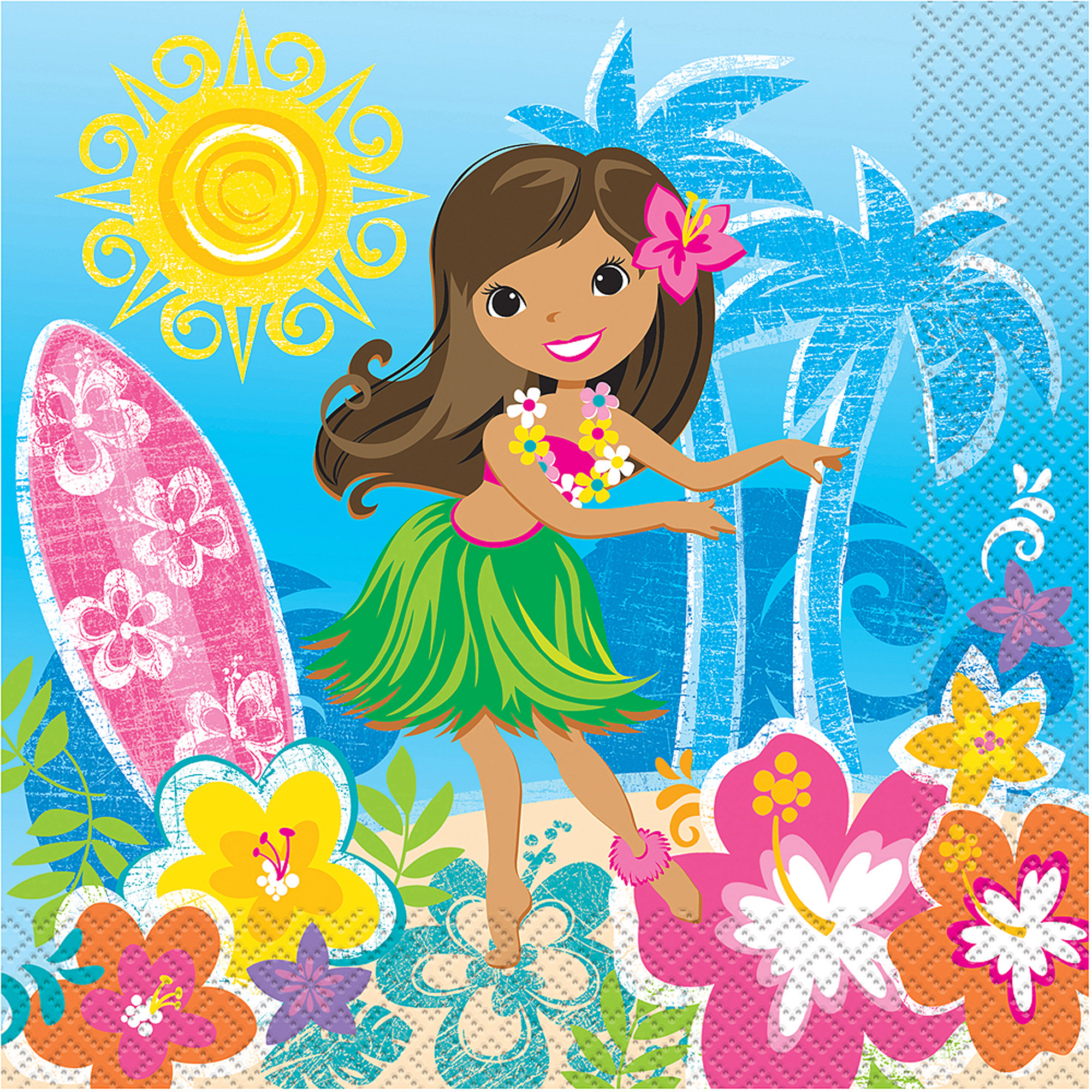 Hula Girl Luau Party Luncheon Napkins, 16-Count