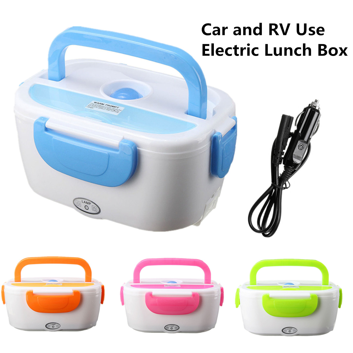 Portable 12V Electric Heating Food Warmer Lunch Box Food Storage Meal Heater with Plug Adapter for Boat Car and RV