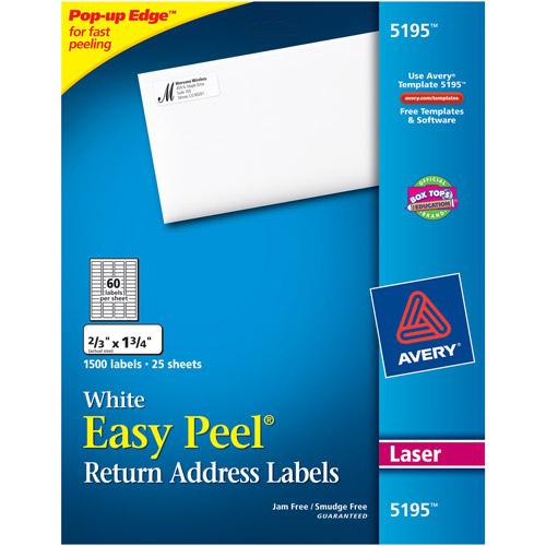 """Avery Easy Peel White Return Address Labels for Laser Printers, 2/3"""" x 1-3/4"""", Pack of 1500"""