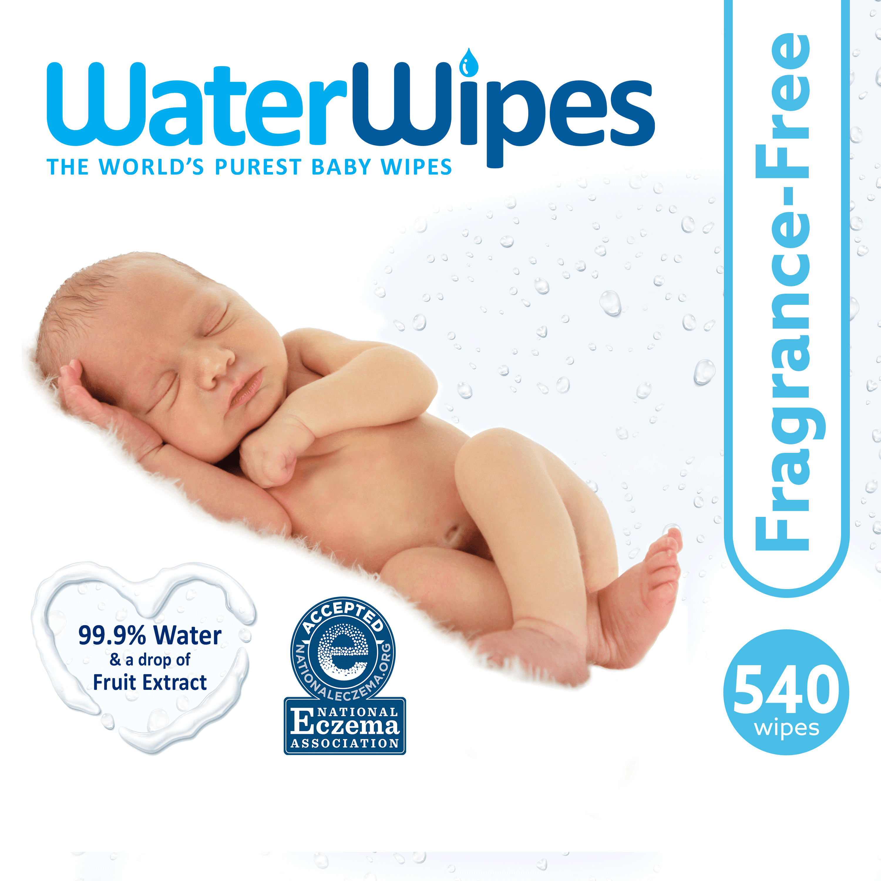 4 X WATER WIPES THE WORLD/'S PUREST BABY WIPES CHEMICAL FREE NATURAL 99.9/% WATER
