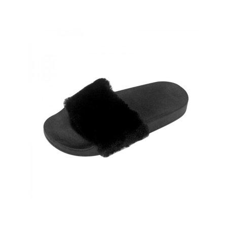Womens Fur Non-Slip Warm Home Slippers