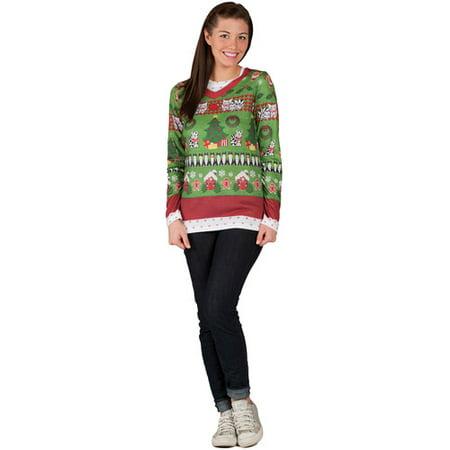 Ugly Christmas Sweater Ladies Halloween Shirt