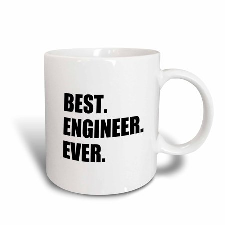 3dRose Best Engineer Ever - fun gift for engineering job - black text, Ceramic Mug,