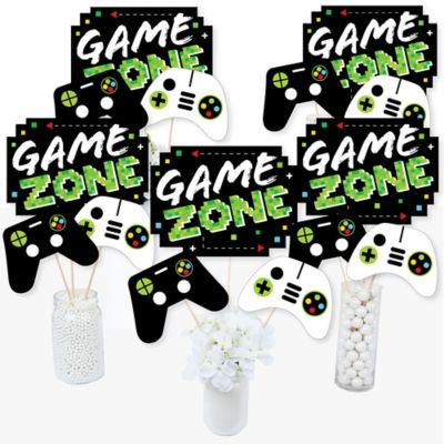 Game Zone - Pixel Video Game Party or Birthday Party Centerpiece Sticks - Table Toppers - Set of 15 (Printable Games For Halloween Party)