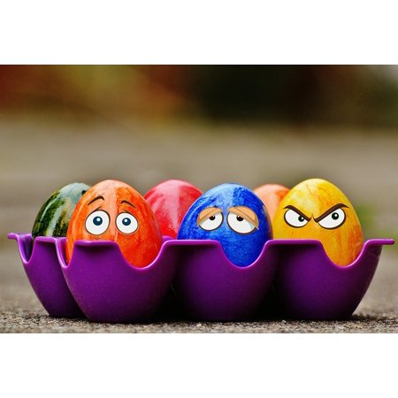 LAMINATED POSTER Eyes Easter Eggs Colorful Funny Easter Poster Print 24 x
