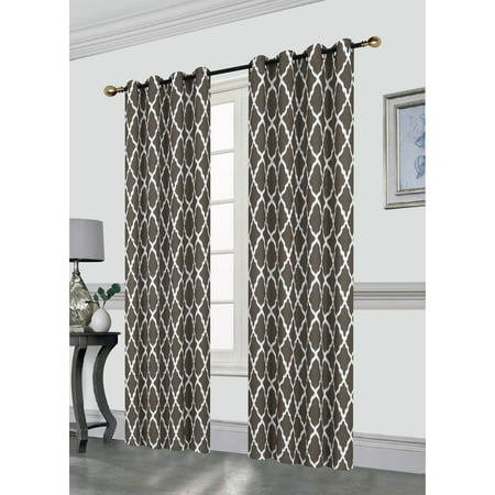 Chocolate Window Curtain (Amber Decorative Lattice Print 52X84 Blackout Window Curtain Panel with 8 Grommets, Single Panel, Chocolate )