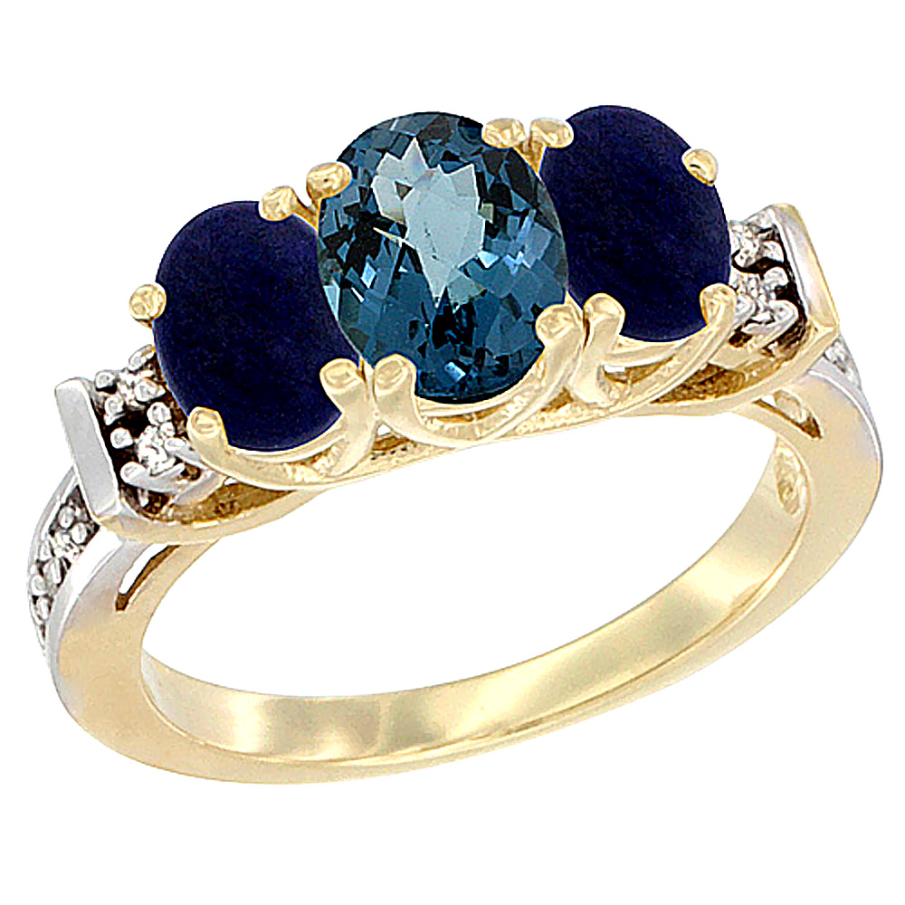 10K Yellow Gold Natural London Blue Topaz & Lapis Ring 3-Stone Oval Diamond Accent by WorldJewels