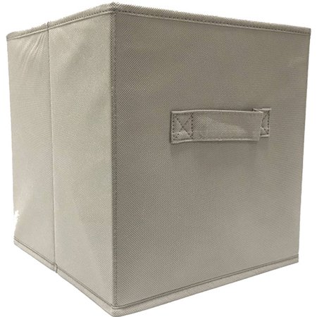 mainstays collapsible fabric storage cube taupe solid pattern set of 2. Black Bedroom Furniture Sets. Home Design Ideas