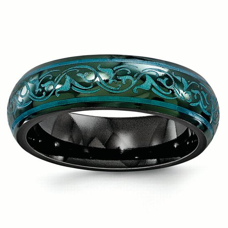 Edward Mirell Black Ti Domed Anodized Teal 6mm Band Size 7 - image 4 de 4