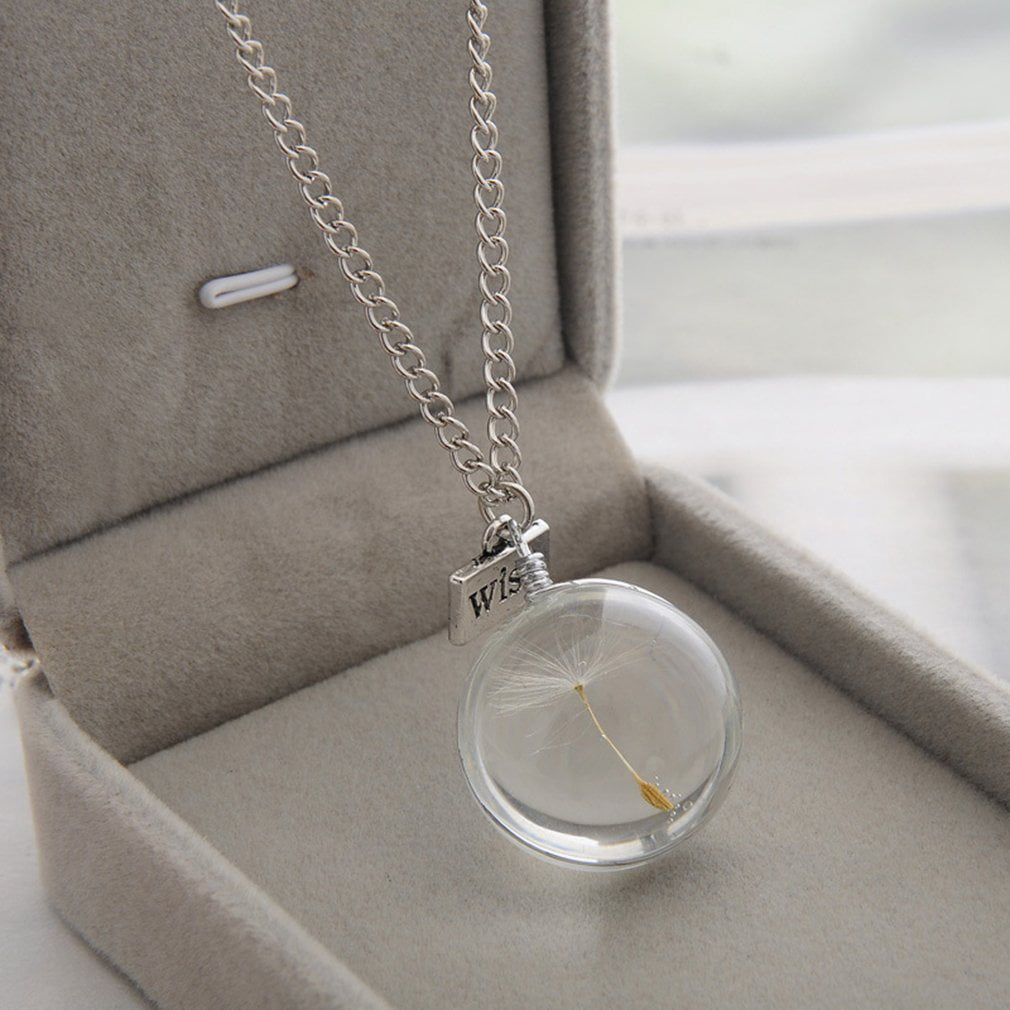 SUNNYCLUE DIY 5 Strand Dandelion Seed Pendant Wish Necklace Crystal Clear Glass Charm Pendant Necklace