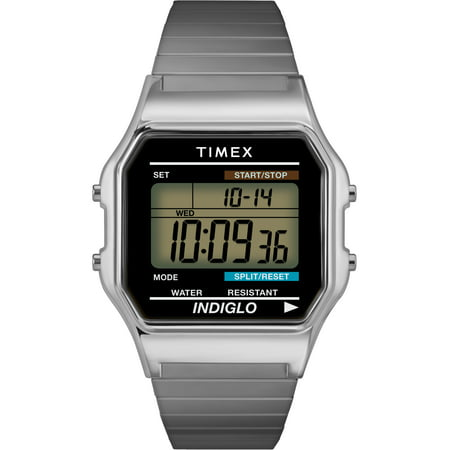 Mens Classic Silver-Tone Case Bracelet New 80's Retro Digital Watch T78582