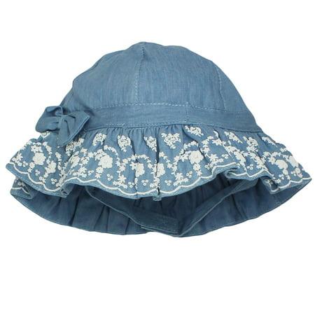 a4c2c7683296a OshKosh - OshKosh Infant Girls Blue Denim Sun Hat With Chin Strap- Chambray  - 12-24 Months - Walmart.com