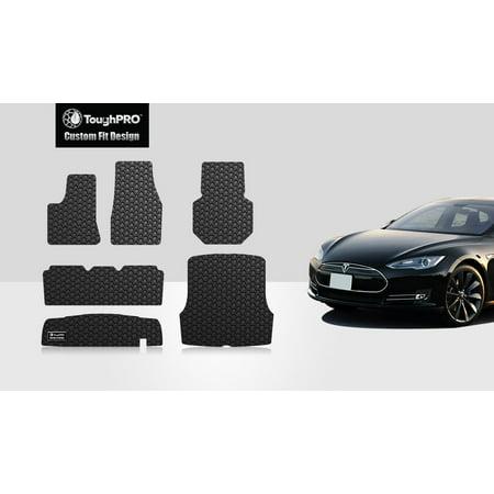 ToughPRO - TESLA Model S Full Set with Trunk & Frunk Mats - All Weather - Heavy Duty - Black Rubber - 2012 (RWD)