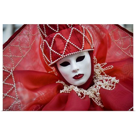 Great BIG Canvas   Rolled Scott Stulberg Poster Print entitled People in masquerade masks during Carnival, Venice, - People In Masks