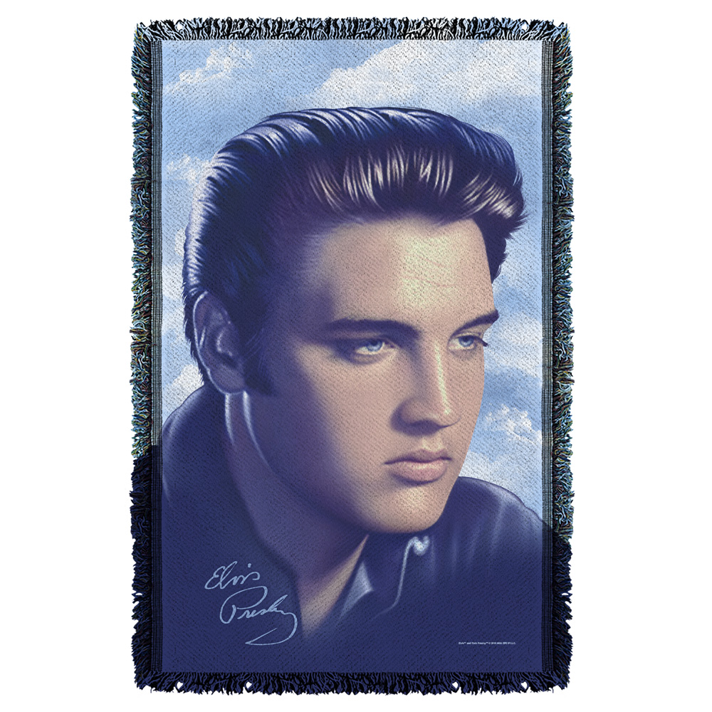 Trevco Elvis Big Portrait Woven Throw White 48X80