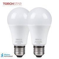 TORCHSTAR 2 Pack 9W A19 Motion Sensor Light Bulbs, Radar Motion Detector, 6000K Pure White, E27 Base