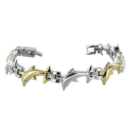 Gem Avenue 11mm wide Two Tone Dolphin Bracelet 7 inch with Fold over (2 Wide Bracelet)