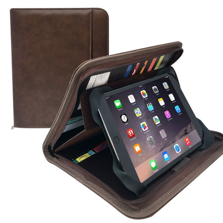 """10.8"""" x 8.5"""" Junior Size Brown Leather Padfolio Business Portfolio with Zippered Closure, Credit, business Cards Slots (MSP105-Brown)"""