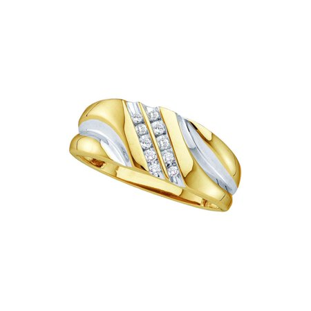 10kt Yellow Gold Mens Round Diamond 2-tone Wedding Anniversary Band Ring 1/8 Cttw ()