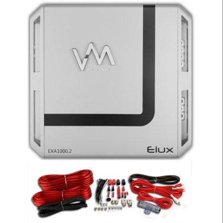 VM Audio Elux EXA1000.2 1000W 2 Channel Amplifier Amp + 4 Red Gauge Wiring Kit