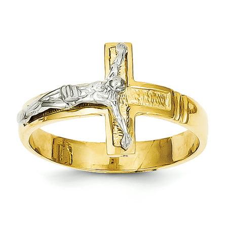14K Rhodium Plated Yellow Gold Polished & Diamond-Cut Mens Crucifix Ring - image 2 de 2