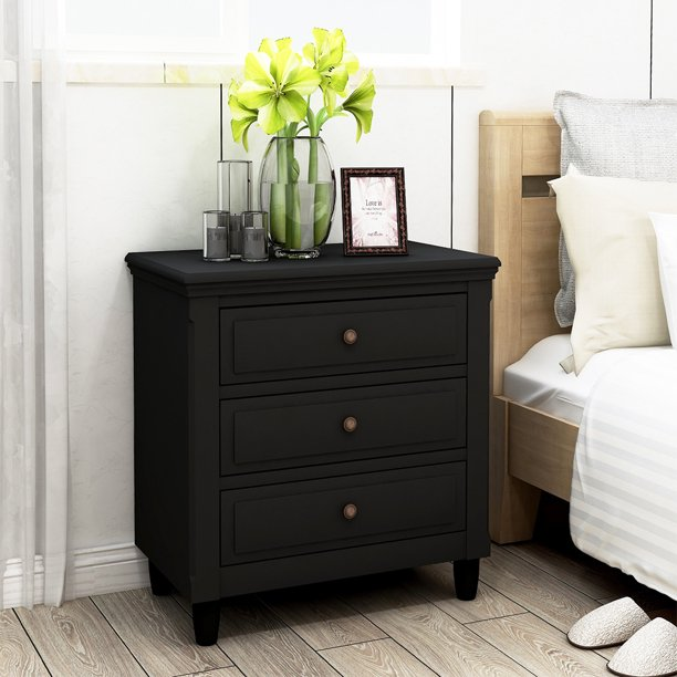 Urhomepro Solid Wood Nightstand 3 Drawer Bedroom Side Table Bedside Heavy Duty Chest Of Drawers Compact Storage Vertical Cabinet For Closet Entryway Hallway Black Q12156 Com - Solid Oak Side Table With Drawers