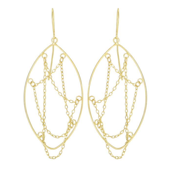14 Karat Yellow Gold Polish Finished Cascading Chain Teardrop Earring With Fishhook Backs, 1 1/2 Inches
