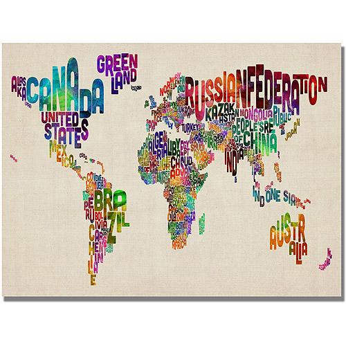 "Trademark Art ""Typography World Map II"" Canvas Art by Michael Tompsett"