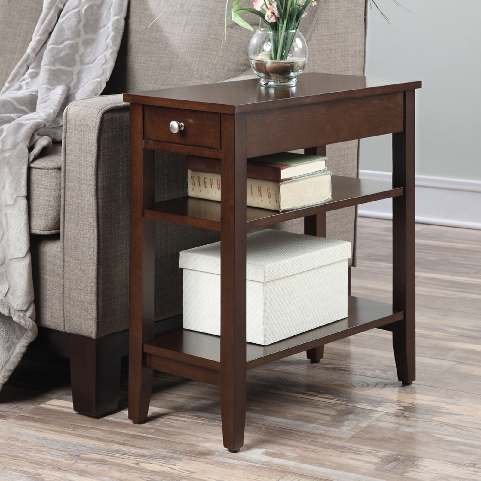 Convenience Concepts American Heritage 3-Tier End Table with Drawer, Multiple Colors