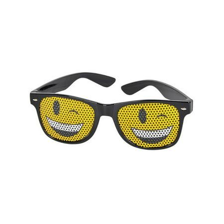 Black Framed Winky Face Emoticon Emoji Novelty Glasses Costume Accessory - Cool Glasses Emoji
