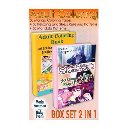 Adult Coloring Box Set 2 In 1 50 Manga Coloring Pages