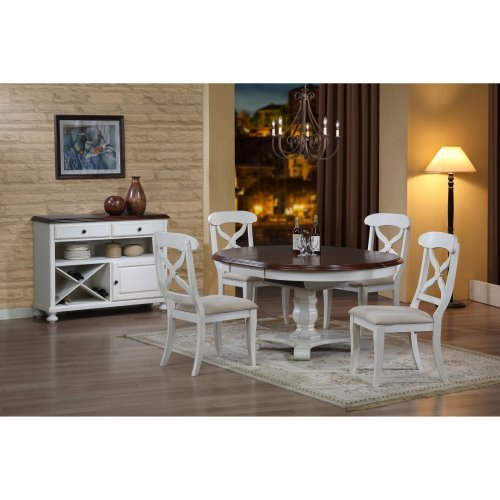 Sunset Trading Andrews 5 Piece Pedestal Dining Set - Antique White