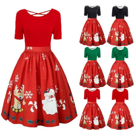 XIAXAIXU Christmas Women Retro Flared Party Santa Swing Dress Dresses Plus Size XL-5XL ()
