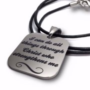 "Necklace-Phil 4:13 I Can Do Stainless Steel On 18"" Leather"