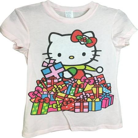 Hello Kitty (Style 20) Holiday Theme Presents Light Pink Girls T-Shirt - Girls Presents