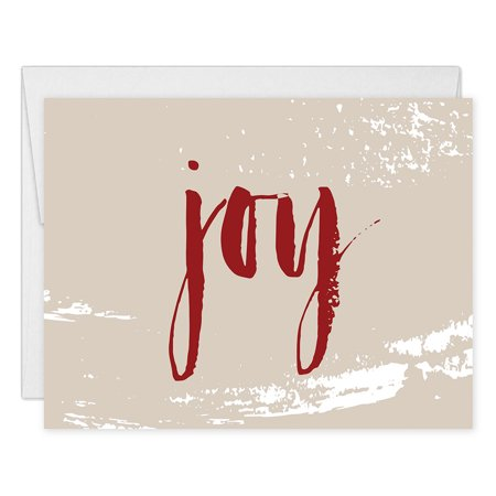Joy Christmas Cards ( Set of 50 ) Modern Rustic Holiday Folded Greeting Notecards with Envelopes Box Set Blank Inside, Chic Winter Seasonal Note Stationery Excellent Value by Digibuddha VH0004 ()