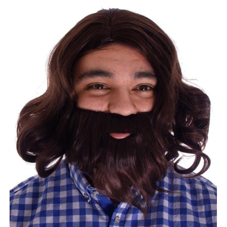 Men's Cosplay Costume Party Anime Jesus Wig and Beard Set Brown Wigs - Anime Guy With Beard