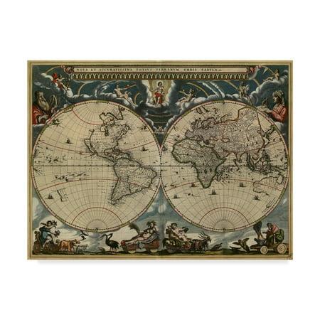 Trademark Fine Art 'Map Of The World 1684' Canvas Art by Vintage (1684 Art)